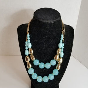 Blue Gold Tone Beaded Double Strand Necklace